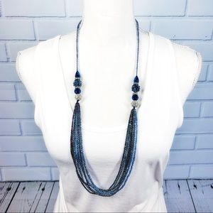 Jewelry - Long Blue Beaded Multistrand Necklace